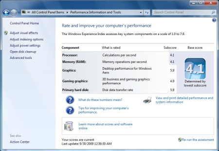 Windows Expierence Index in Windows 7