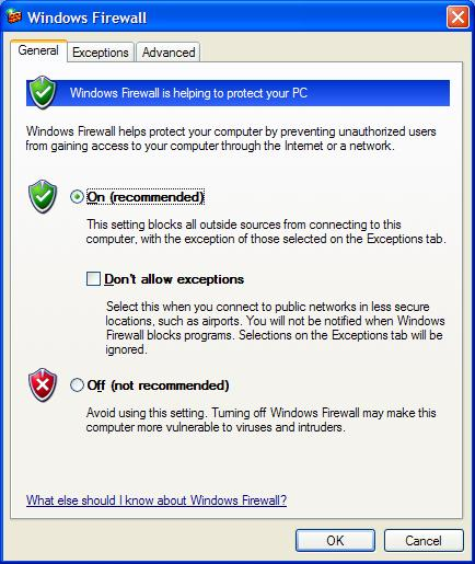 The Windows Firewall in Windows XP