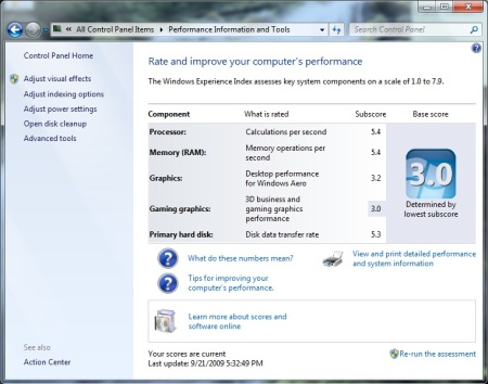 Windows Expierence Index from 7