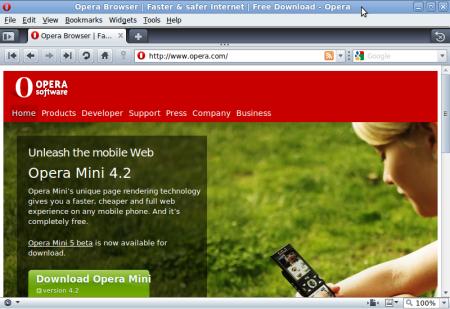 Opera 10 in Ubuntu 9