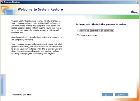 System Restore in Windows ME