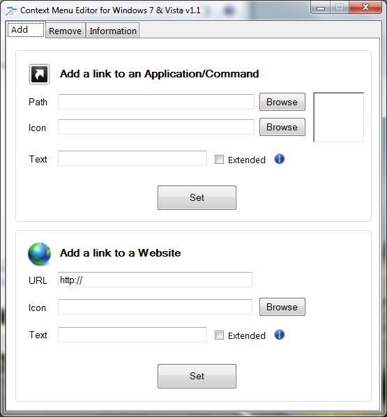 Context Menu Editor in Windows 7