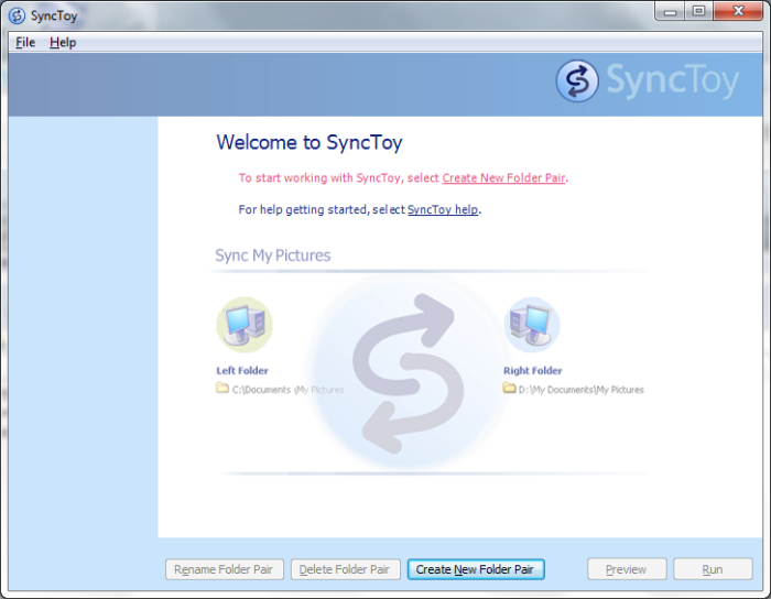 SyncToy in Windows 7