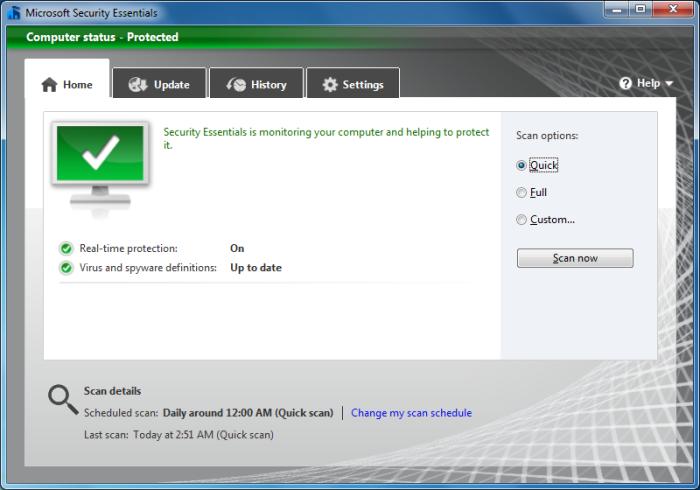 Microsoft Security Essentials 2.0 in Windows 7
