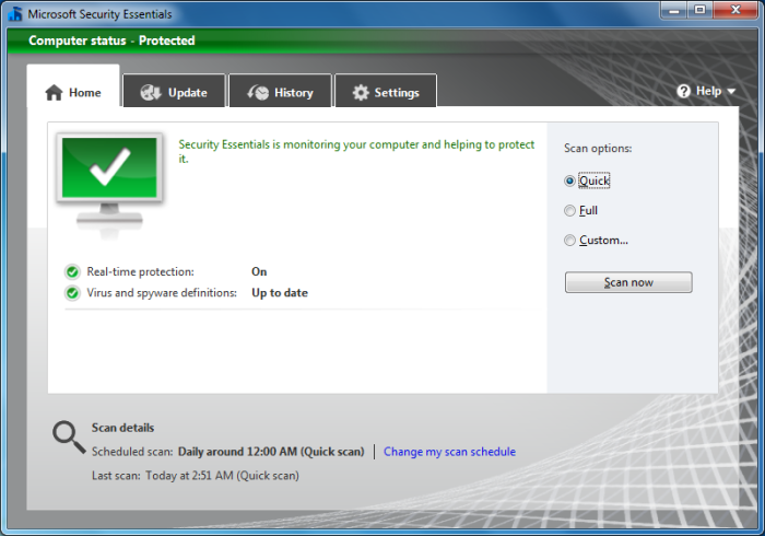 Microsoft Security Essentials 2.0 in Windows 7