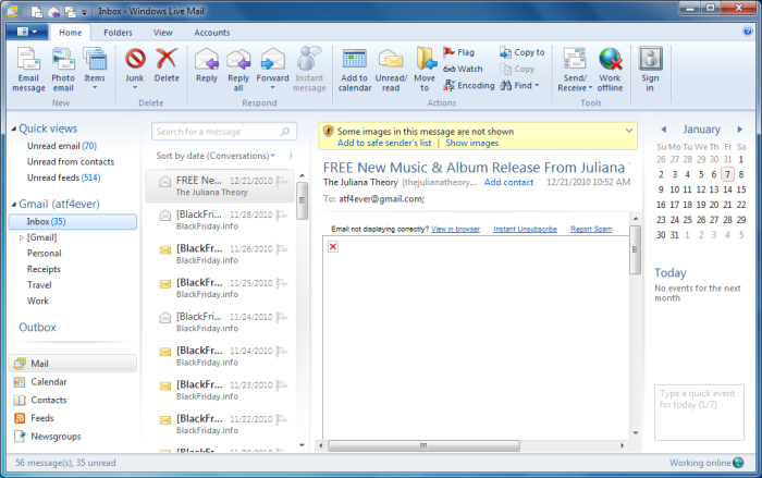 The New Windows Live Mail in Windows 7