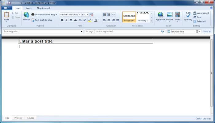 The New Windows Live Writer in Windows 7