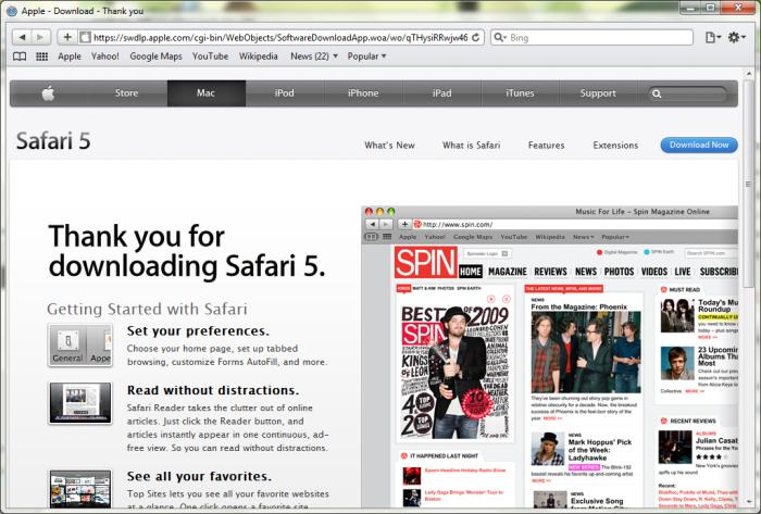 Safari 5 in Windows 7 64-bit
