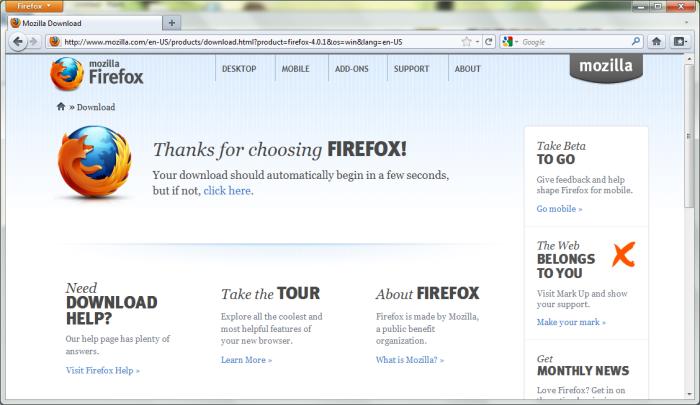 Firefox 4 in Windows 7 64-Bit