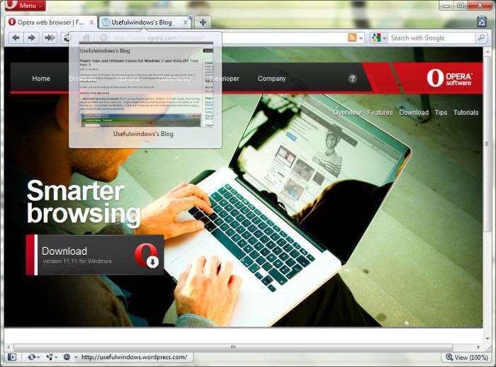 Opera 11 in Windows 7 64-bit