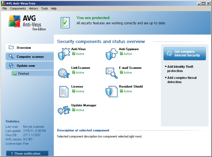 AVG 9 Free in Windows 2000
