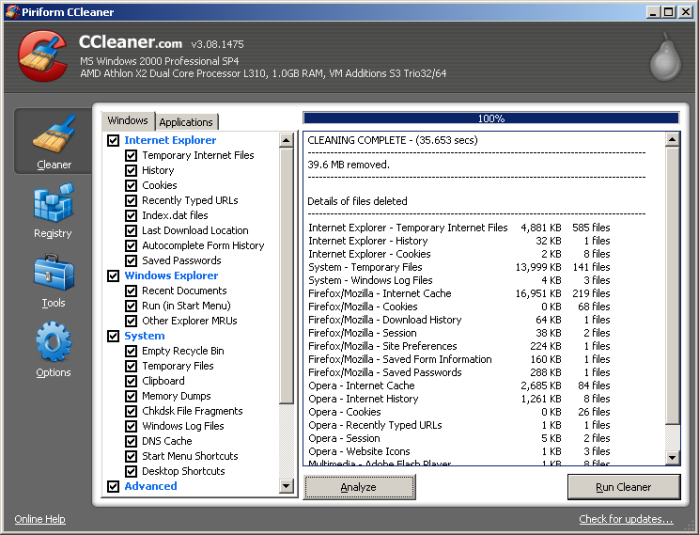CCleaner in Windows 2000
