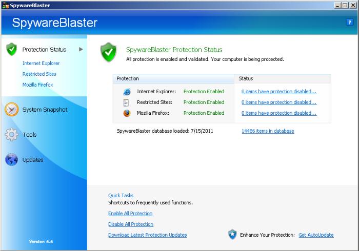 SpywareBlaster 4.4 in Windows 2000