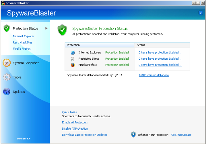 SpywareBlaster 4.4 in Windows 2000