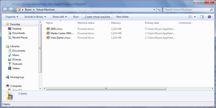 Windows Virtual PC window