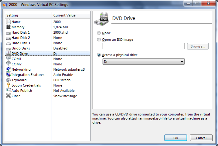 DVD settings in Windows Virtual PC